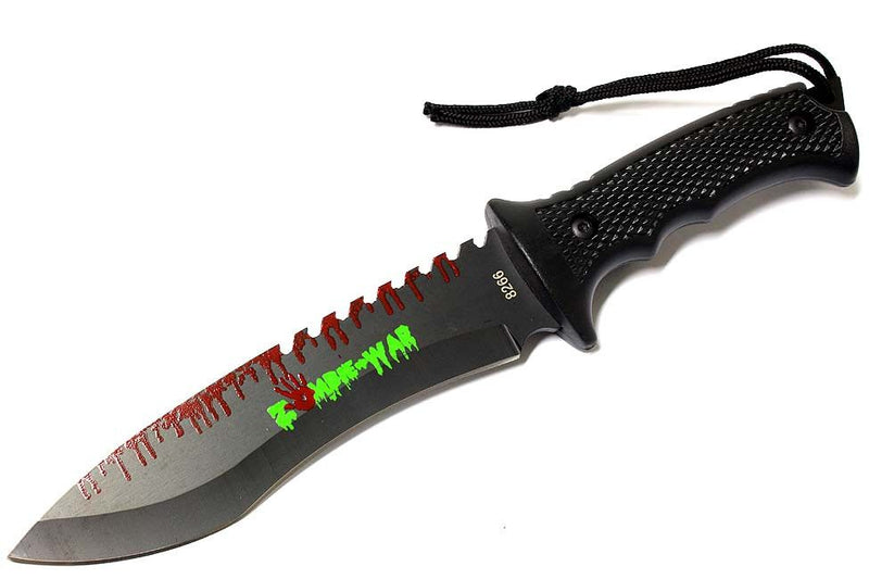 "9"" Zombie-War Stainless Steel Hunting Knife with Black Handle - Sun-Blades"