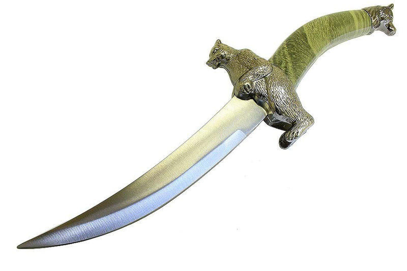"13.5"" Green Bear Mongolian Dagger with Sheath - Sun-Blades"