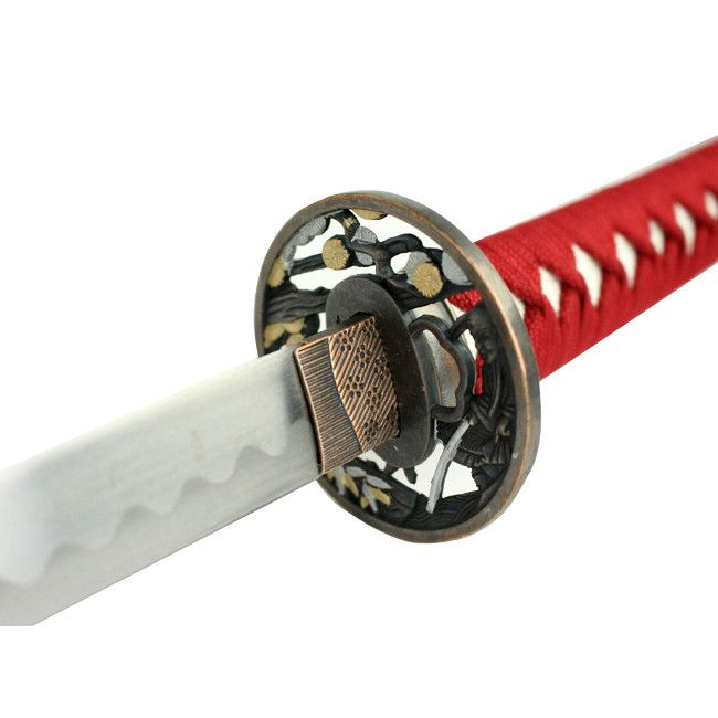 "40.5"" Red Collectible Katana Samurai Sword With Flower Design - Sun-Blades"