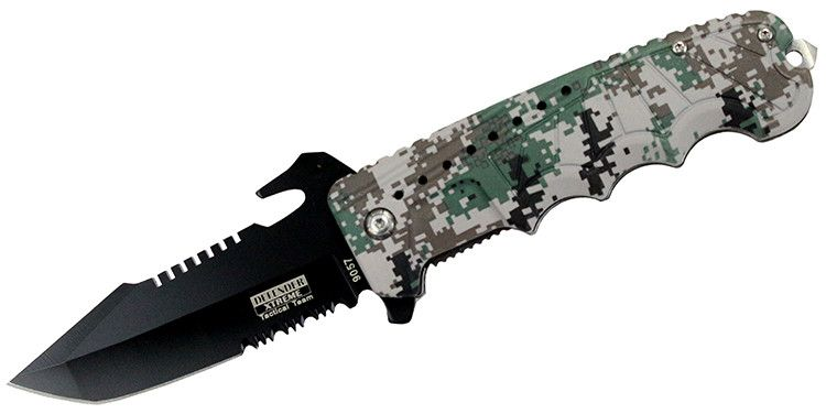"9"" Spring Assisted Gray Digital camo Handle Knife with Bottle Opener - Sun-Blades"