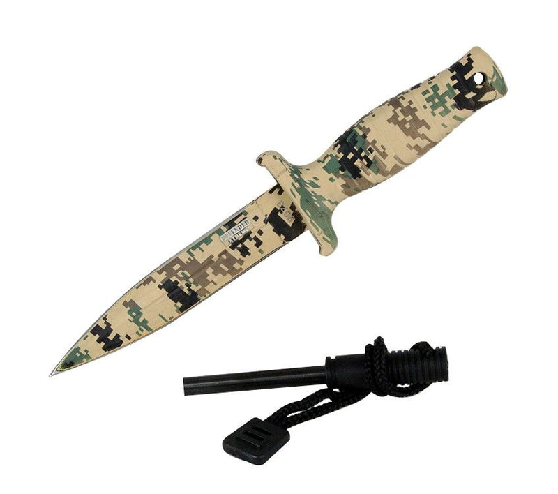 "7"" Defender Xtreme Desert Camo Mini Hunting Knife Stainless Steel Blade with Fire Starter - Sun-Blades"
