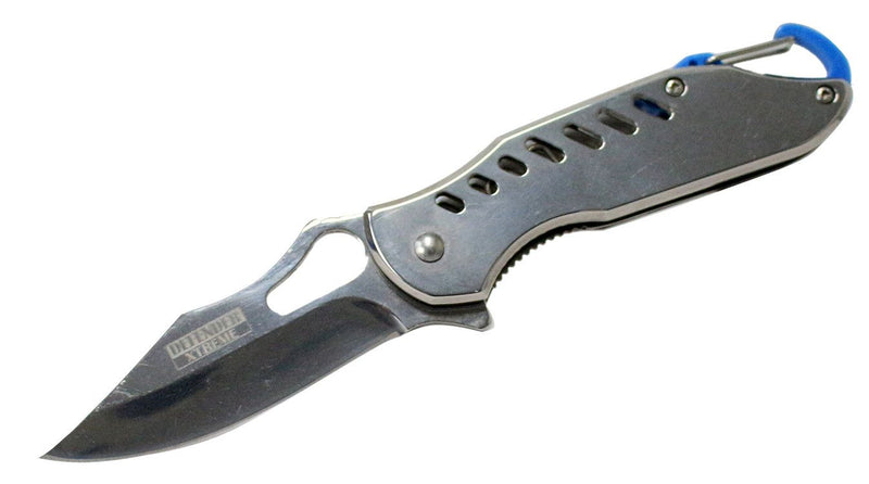 "6.5"" Defender Xtreme Spring Assisted Refelctive Gray Knife with Keychain Clip - Sun-Blades"