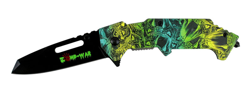 "8"" Zomb War Spring Assisted Clip Point Knife with Glass Breaker & Rainbow Viper Handle - Sun-Blades"