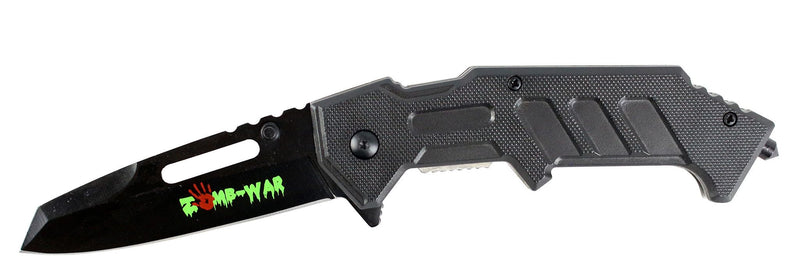 "8"" Zomb War Spring Assisted Black Clip Point Knife with Glass Breaker & Belt Clip - Sun-Blades"