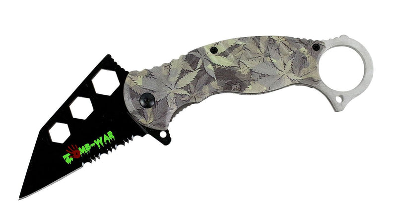 "7.5"" Zomb War Spring Assisted Tanto Knife with 420 Friendly Handle and Fore Finger Grip - Sun-Blades"