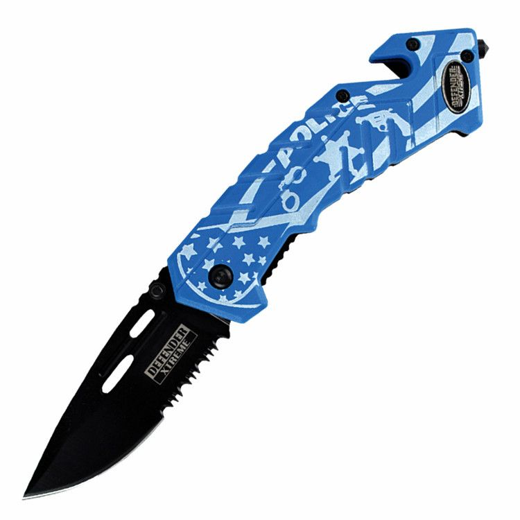"Defender Xtreme High Quality Tactical 7.5"" Blue Spring Assisted Folding Knife"
