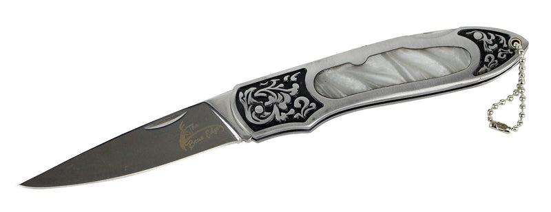 "8"" The Bone Edge Stainless Steel Folding Knife with Engraved Pearly White Handle - Sun-Blades"