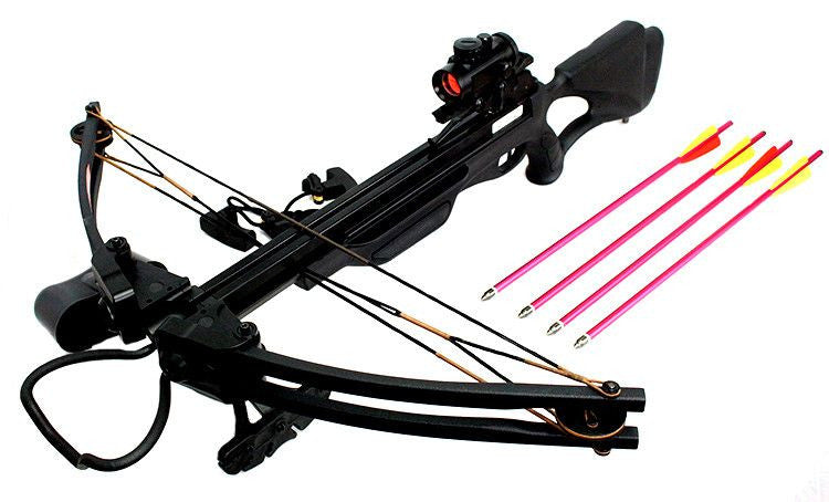 175 LBS Cobra Hunting Crossbow W/ Solid Fiber Glass Limb Black