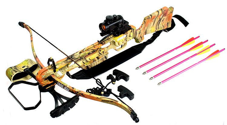 160LBS Cobra Hunting Crossbow W/ Red Dot Sight Black