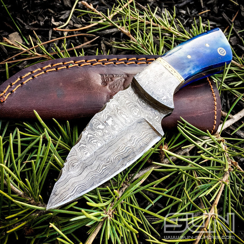 Hand Made Blue Handle Damascus Knife