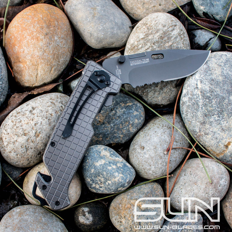 "9"" The Bone Edge Grey Folding Knife with Belt Clip"
