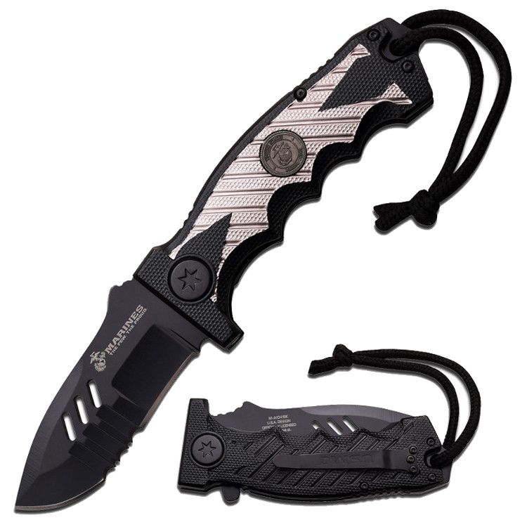 "MTech 8.35"" Stainless Steel Spring Assisted Knife Survival Black Aluminum Handle"