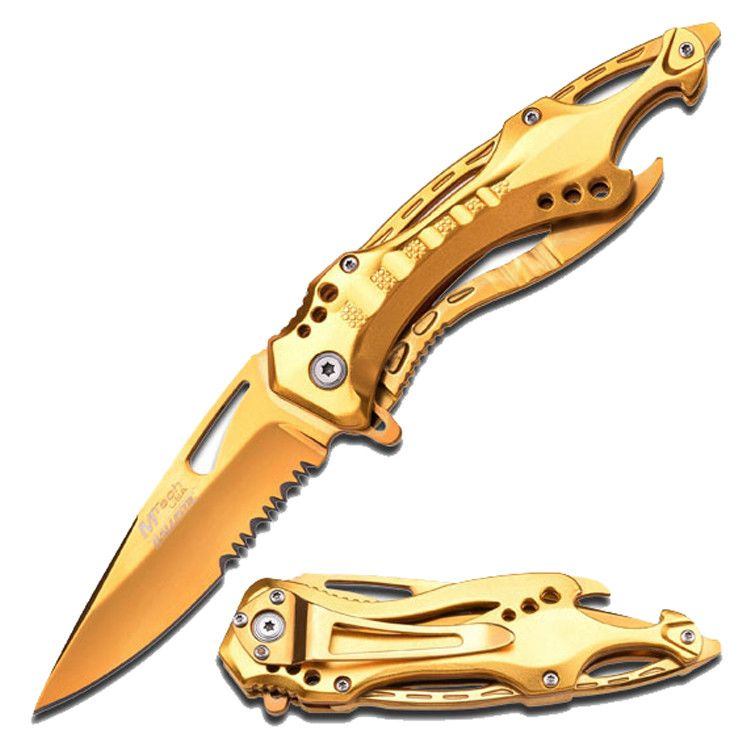 "MTech 8.25"" Stainless Steel Spring Assisted Knife Golden Coated Aluminum Handle"