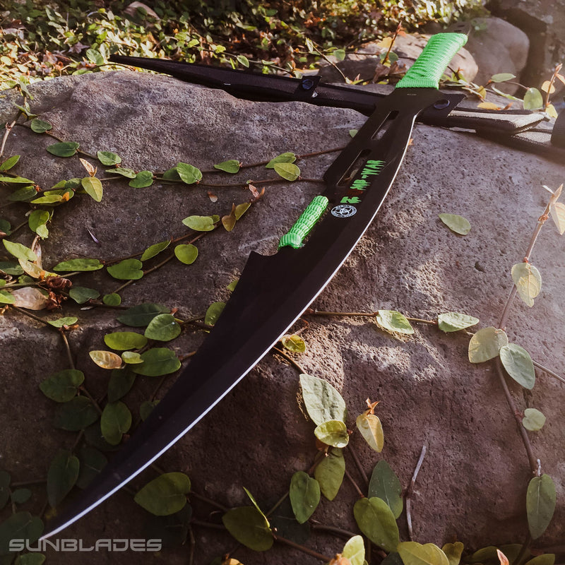 "27"" Full Tang Black Stainless Steel Green Zomb-War Sword - Sun-Blades"