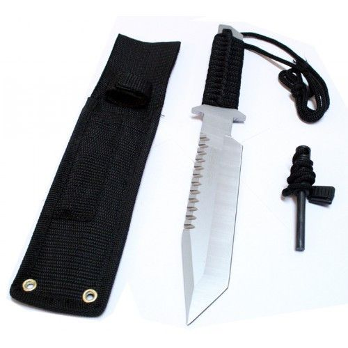 "11"" Silver Full Tang Hunting Knife With Fire Starter & Sheath - Sun-Blades"