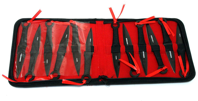 "Set of 12 Black 6.5"" Throwing Knives with Carrying Case - Sun-Blades"