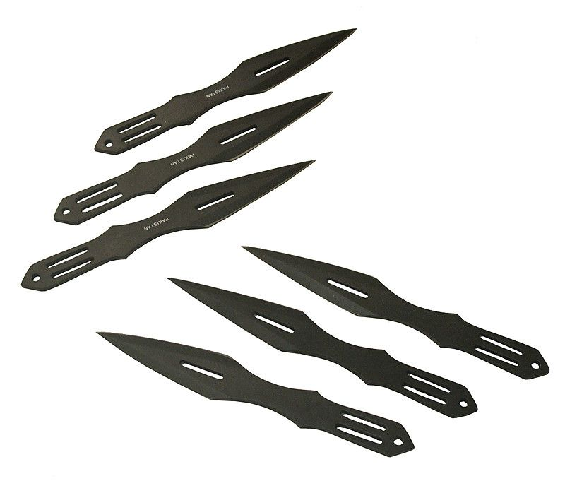 6 Pc Black Color Throwing Knife - Sun-Blades