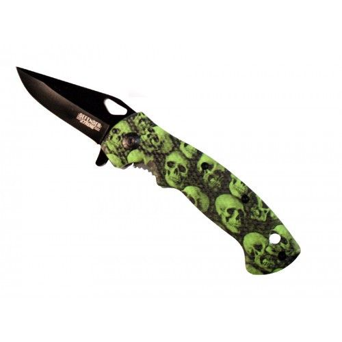 "7.5""  Mini Folding Spring Assisted Knife Green Skull Handle Design With Clip - Sun-Blades"