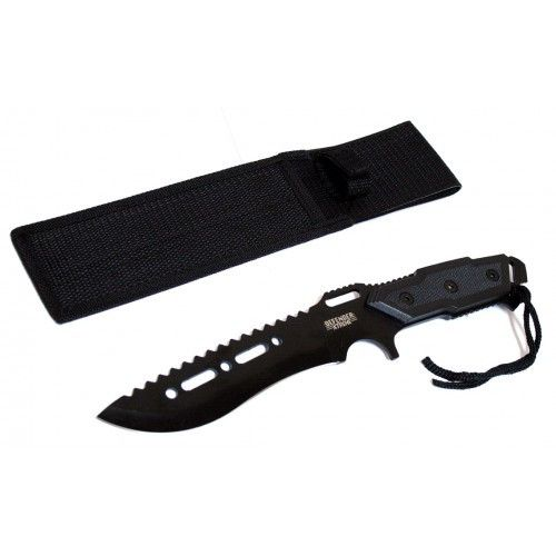 "Full Tang 12"" Black Blade Combat Ready Hunting Knife With Sheath - Sun-Blades"