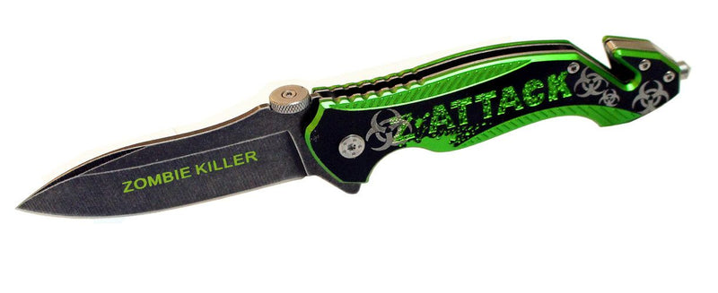 "8"" S/A Pocket Knife Zombie Killer Stone Wash Blade Metal Handle W/ Seat Belt Cutter - Sun-Blades"