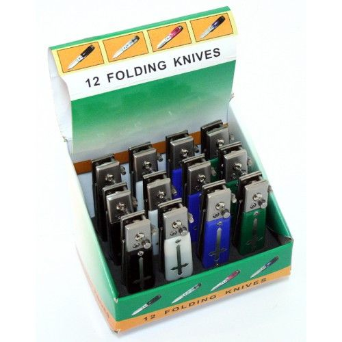 "12 Piece Cross Design Set of 4.5"" Mixed Colors Mini Push Button Spring Assisted Knife W/ Lock - Sun-Blades"