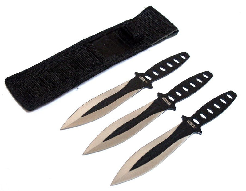 "8"" Black & Sliver Blade 3 Pc Throwing Knives with Sheath - Sun-Blades"