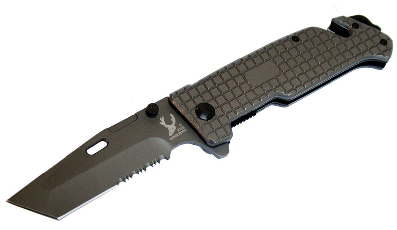 "8.5"" The Bone Edge Collection Grey Folding Knife with Belt Clip - Sun-Blades"