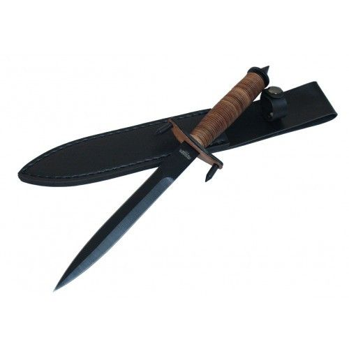 "12.5"" Hunting Knife Brown & Black with Leather Handle & Sheath - Sun-Blades"