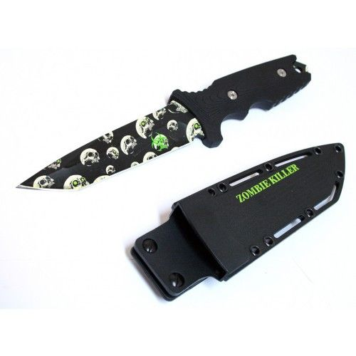 "10"" Zombie Killer Stainless Steel Hunting Knife With Sheath & Belt Clip - Sun-Blades"