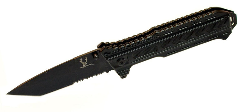 "8.5"" Tactical Team S/A All Black Stainless Steel Blade Pocket Knife Metal Handle W/ Belt Clip - Sun-Blades"