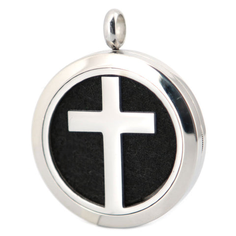 Silver Cross Essential Oil Diffuser Necklace