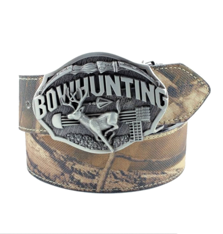 COMBO Bowhunting Belt Buckle w/ Camo Belt