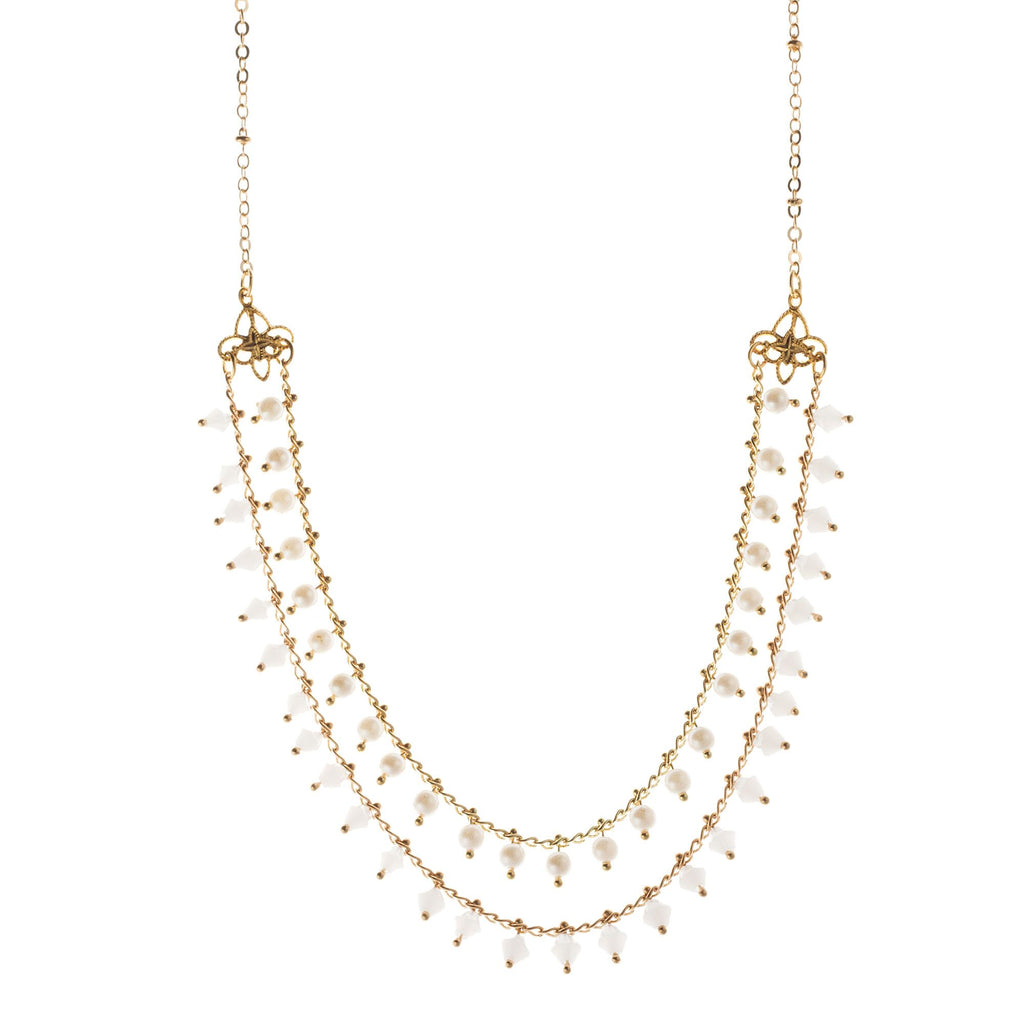 14k gold plated beaded chain necklace