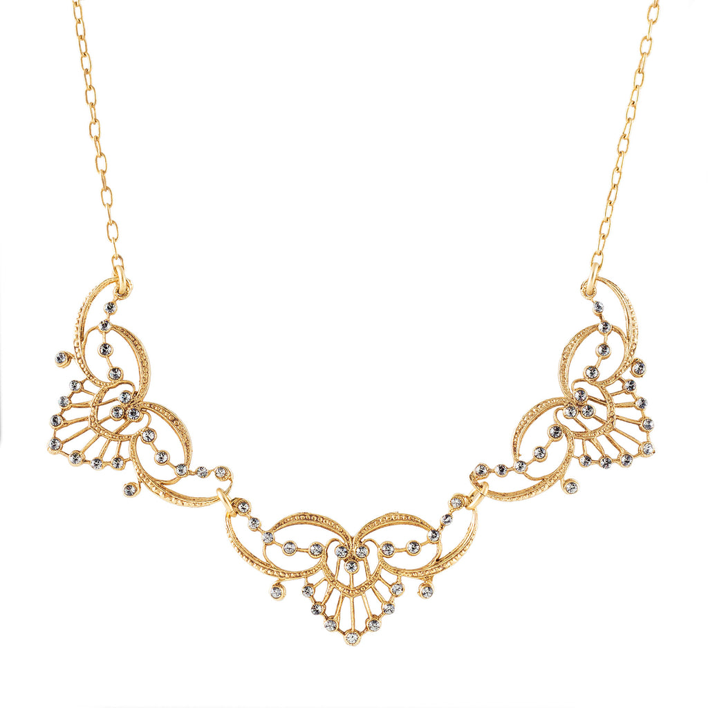 14k gold plated triple tiara necklace