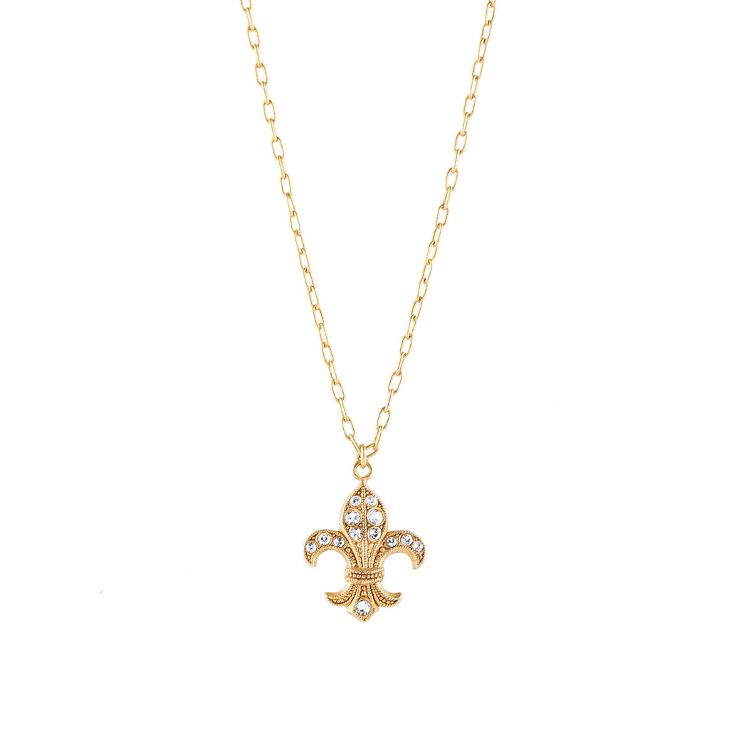 14k gold plated Fleur du Lys charm necklace