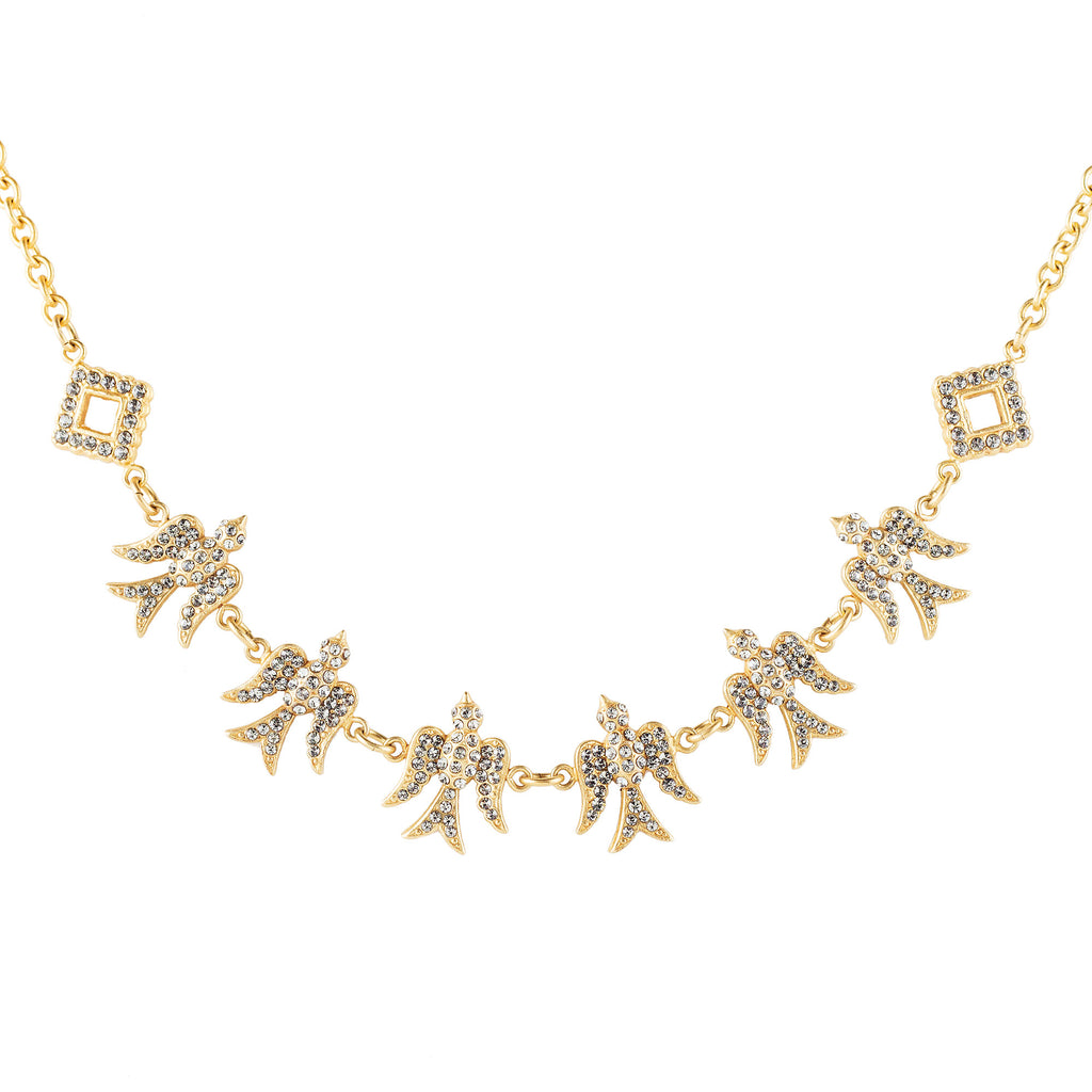 14k gold plated necklace with 6 'birds in flight'