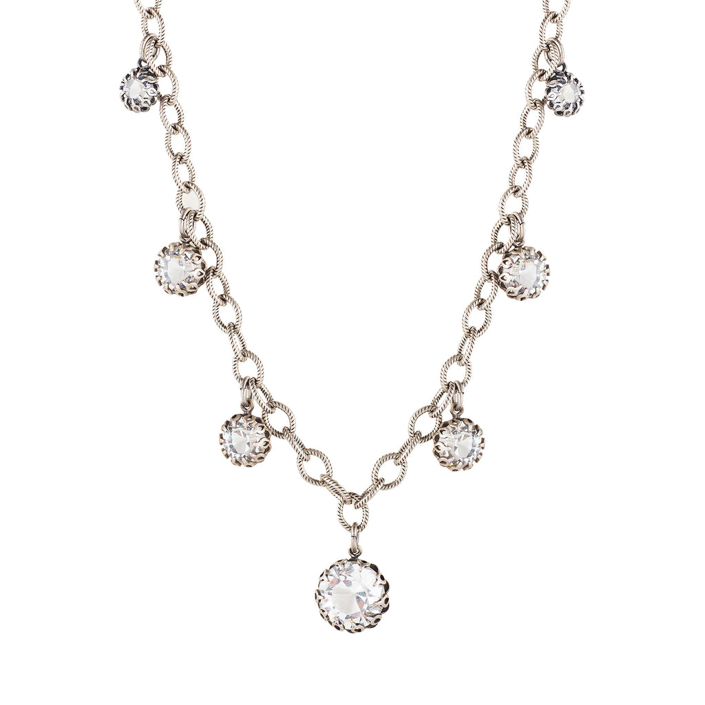 Sterling silver plated necklace with seven Swarovski crystals in Crystal