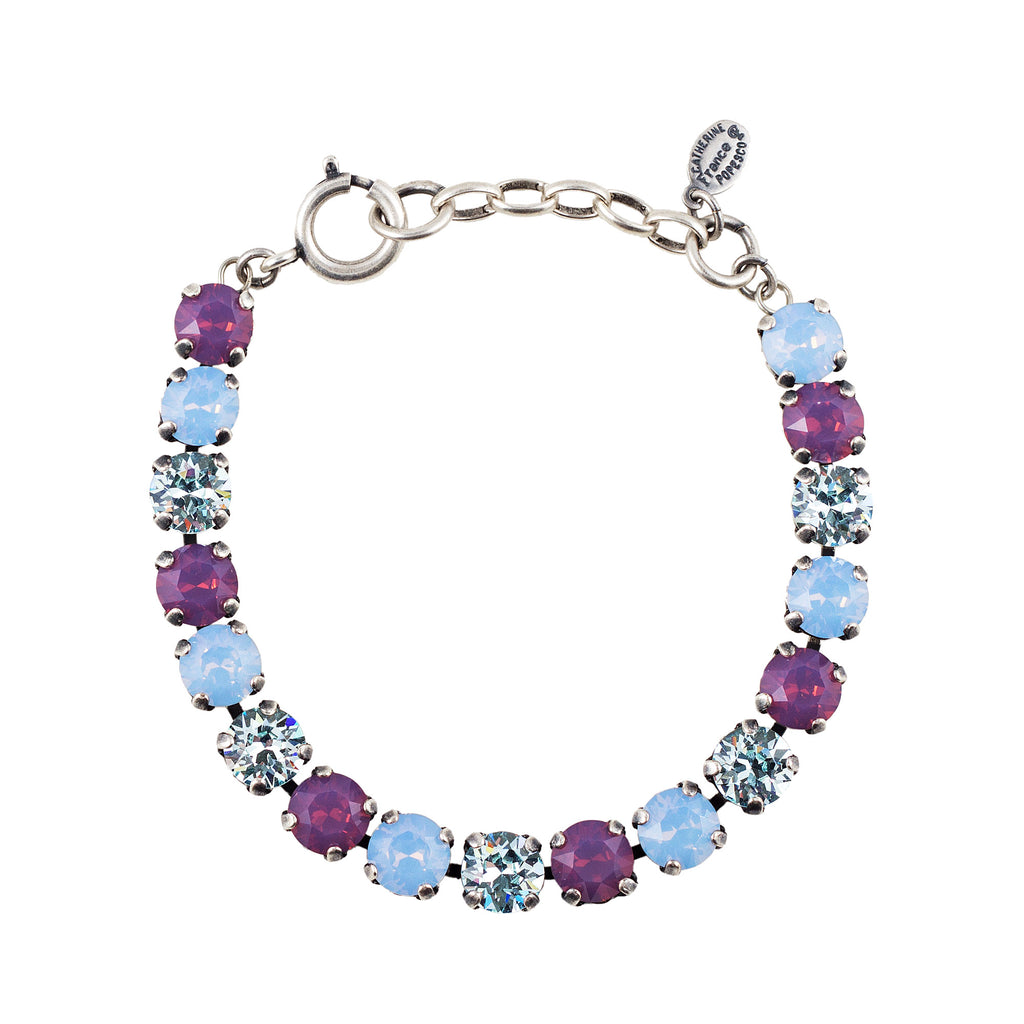 Sterling silver plated bracelet with Swarovski crystals in Air Blue Opal, Ice and Lavender