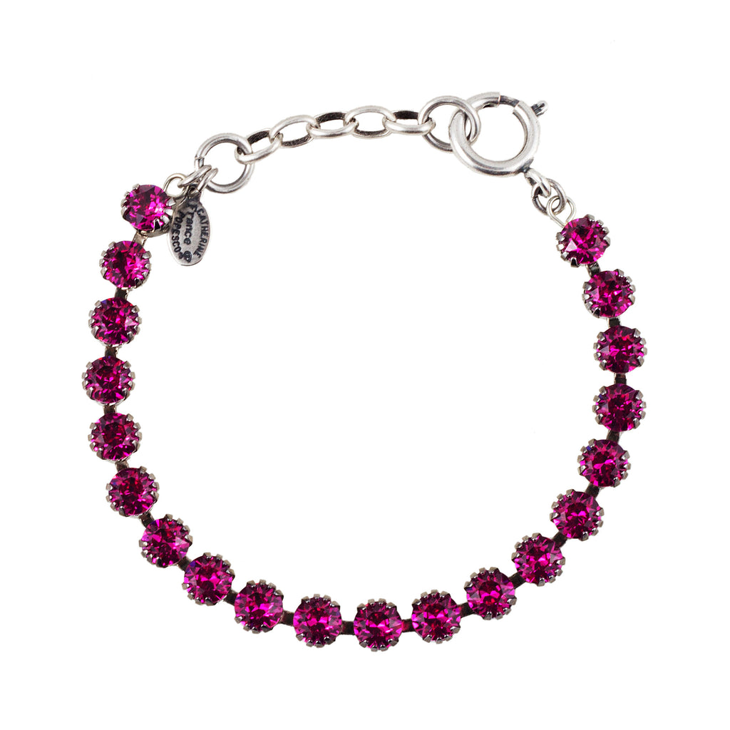 Sterling silver plated bracelet with Swarovski crystals in Fuschia