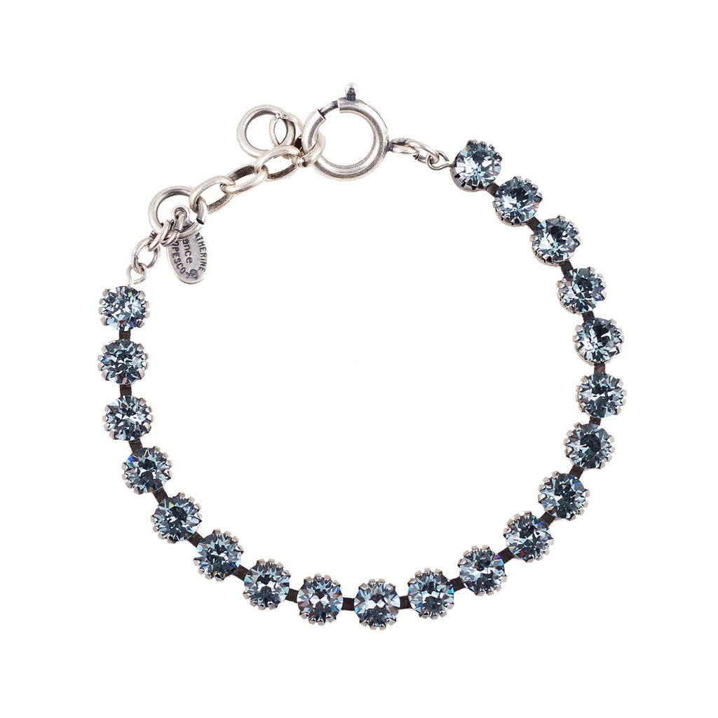 Sterling silver plated bracelet with Swarovski crystals in Indian Sapphire