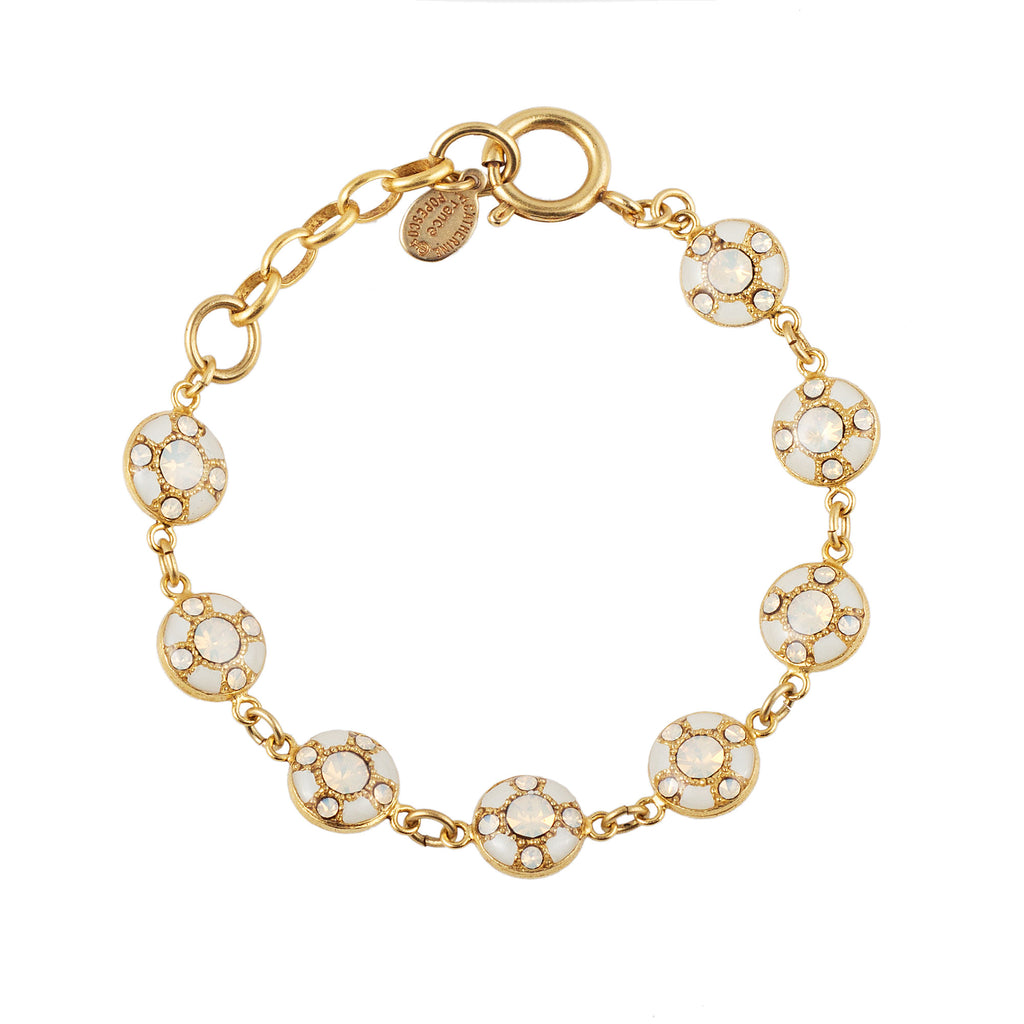 14k gold plated bracelet with hand painted enamel and set with Swarovski crystals in White Opal