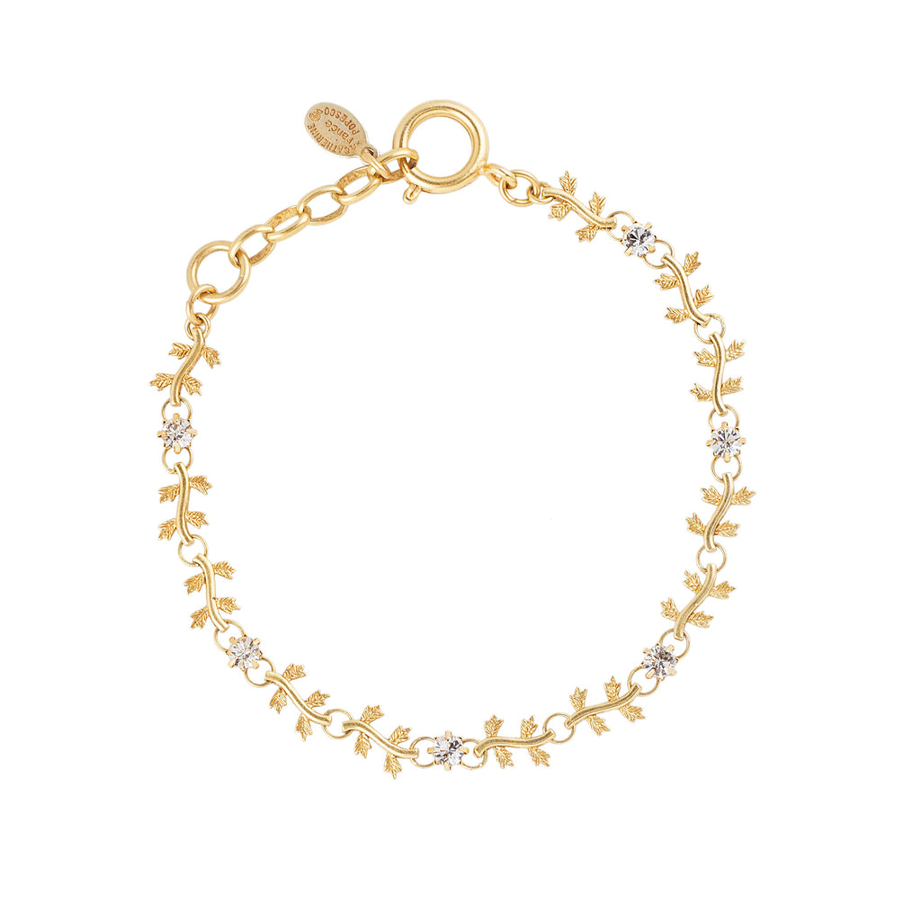 14k gold plated leaf bracelet set with Swarovski crystals