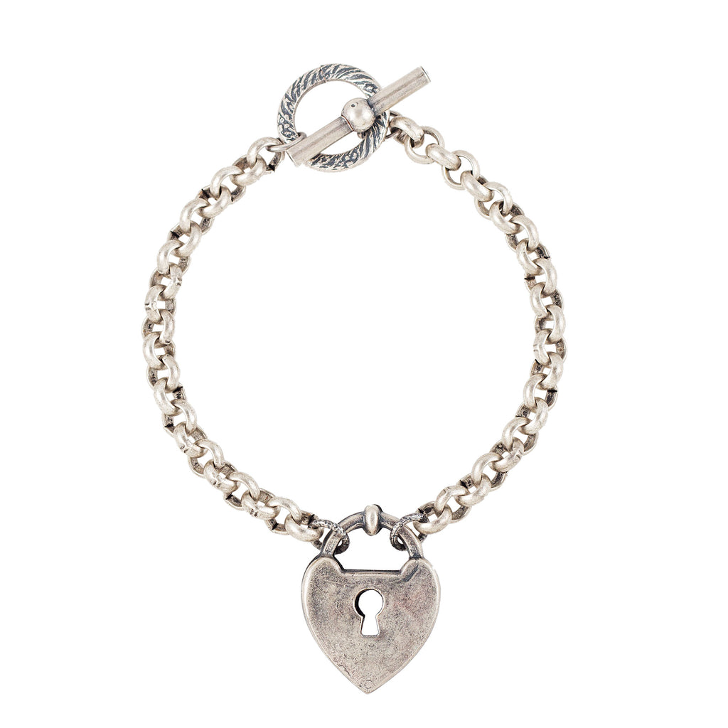 Sterling silver plated bracelet with heart locket