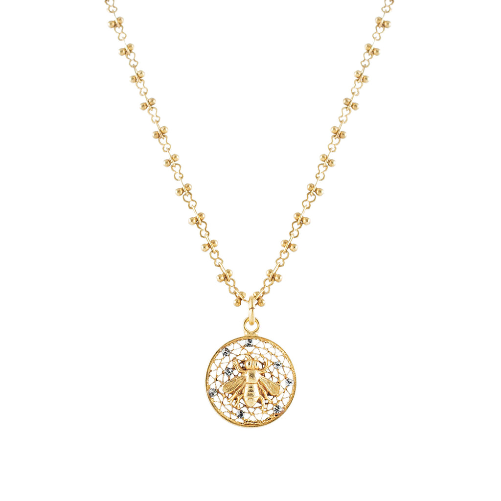 14k gold plated step ladder chain with small Bee medallion