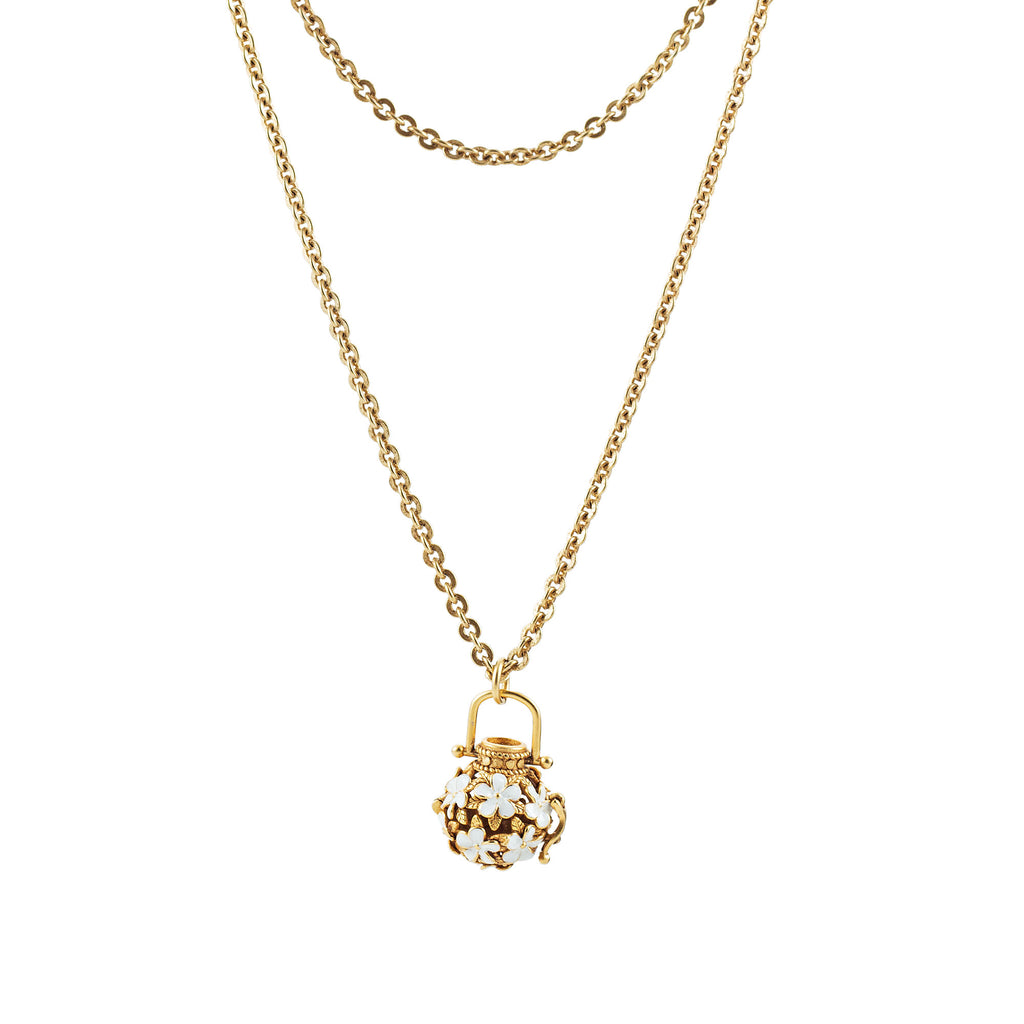 14k gold fancy chain necklace with charm holder