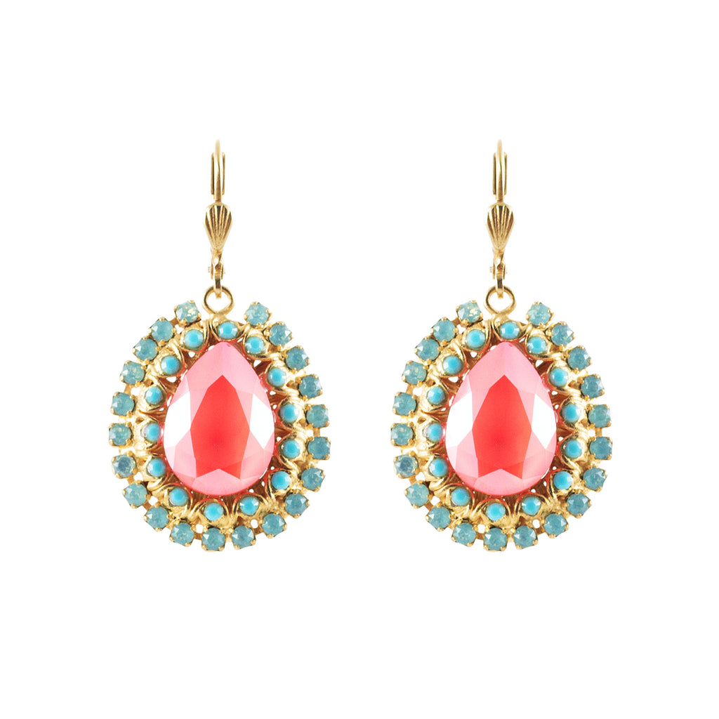 14k gold plated tear shaped earrings set with centre Swarovski Chaton in Coral