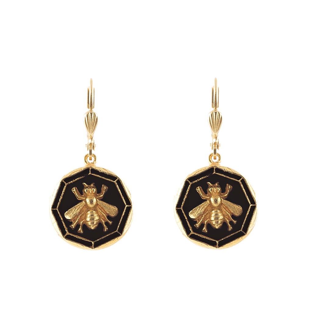 14k gold plated Enamel Bee earrings