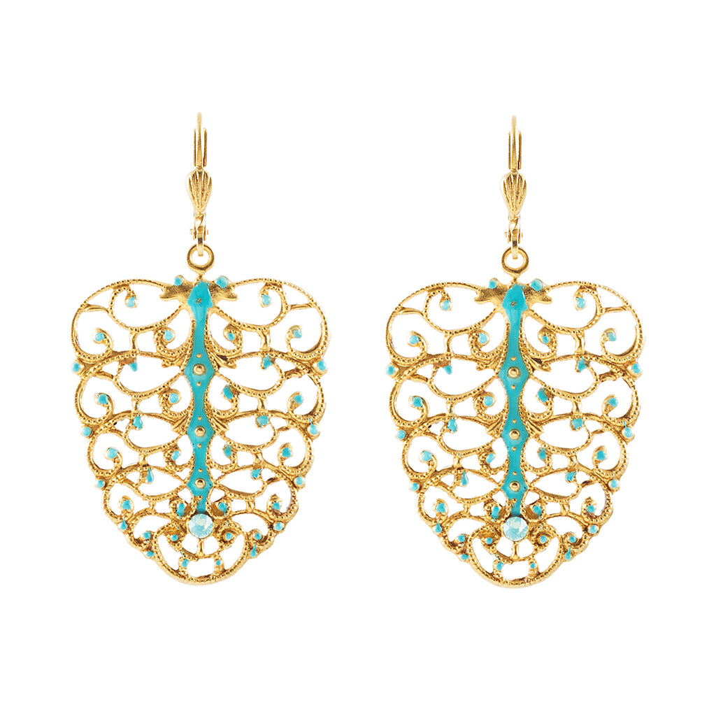 14k gold plated Filigree enamel earrings