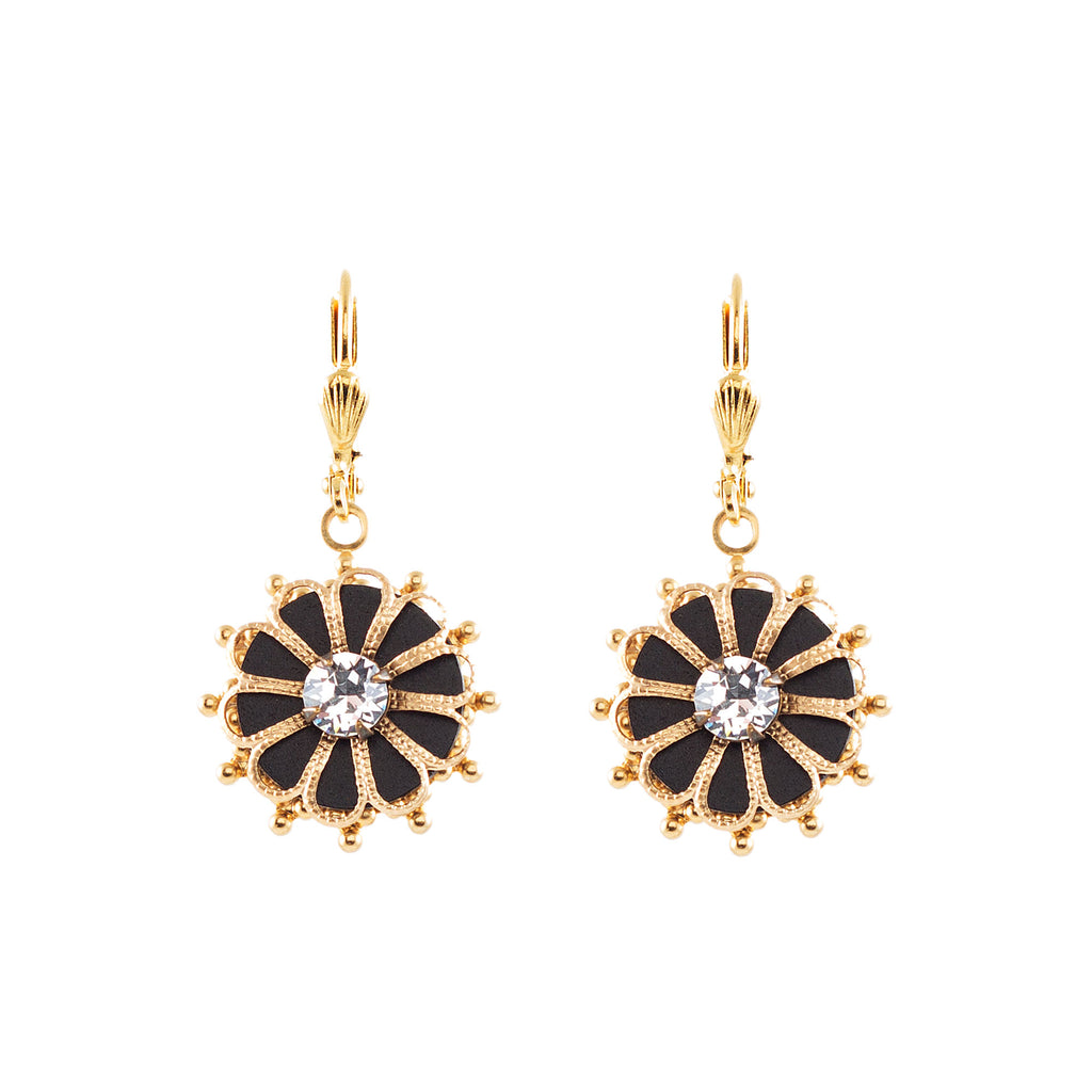 14k gold plated filigree leverback earrings