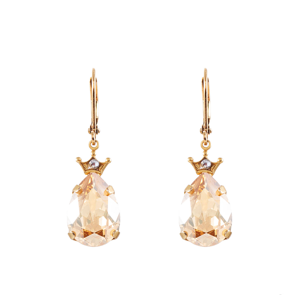 14k gold plated crown tear drop leverback earrings